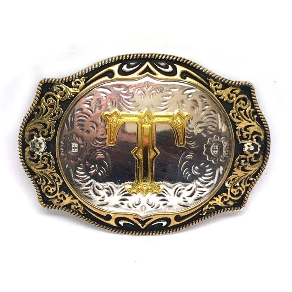 Western Men's Jeans Belt Buckle Silver Gold Zinc Alloy Belt Buckle 26 Letters Last Name High-grade Retro Pattern