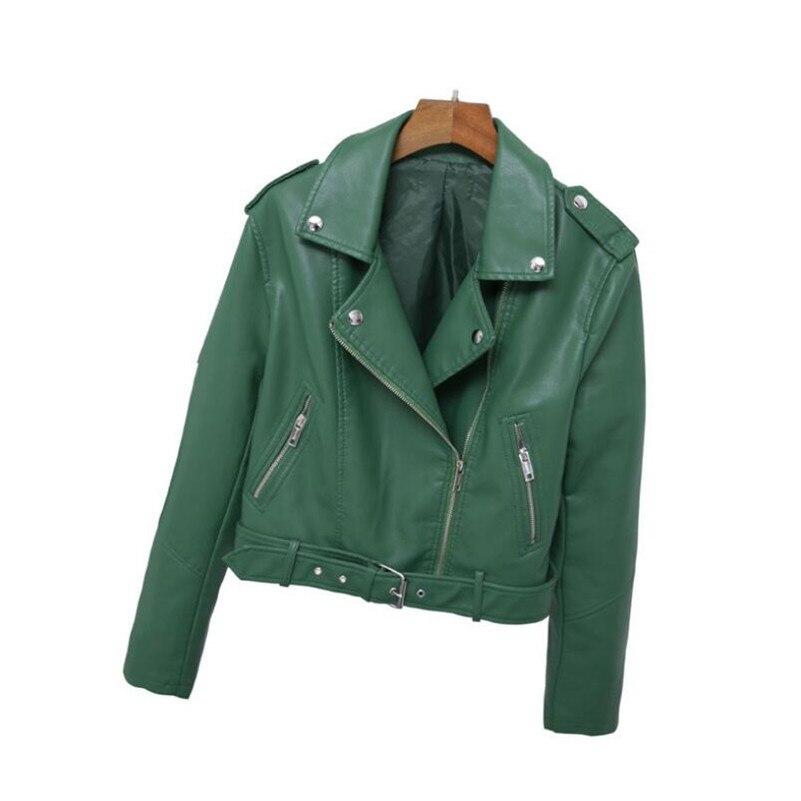 2019 Spring Women Fashion PU   Leather   Biker Jackets Faux   Leather   Coat outwear r778