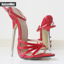 Jialuowei Fetish GiaroSlick 2017 Fashion Ankle Strap Pointed Toe Shoes Women Metal Thin Heels High-Heeled Shoes unisex sandals