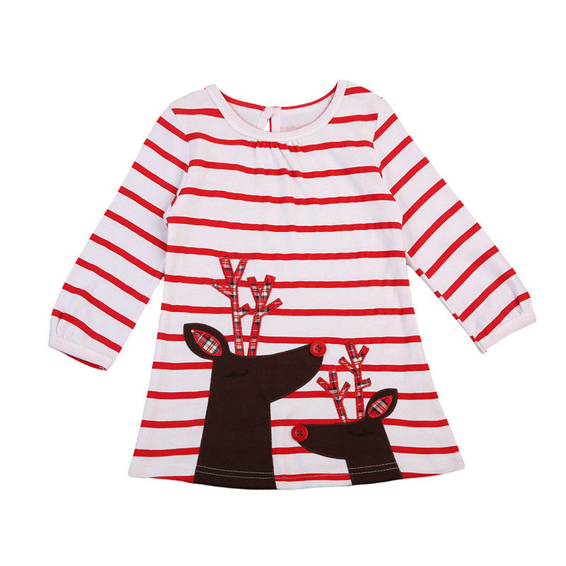 Baby Girls Clothing Deer Print Red Striped Dresses Cute Bebe Girls Casual Kids Clothes