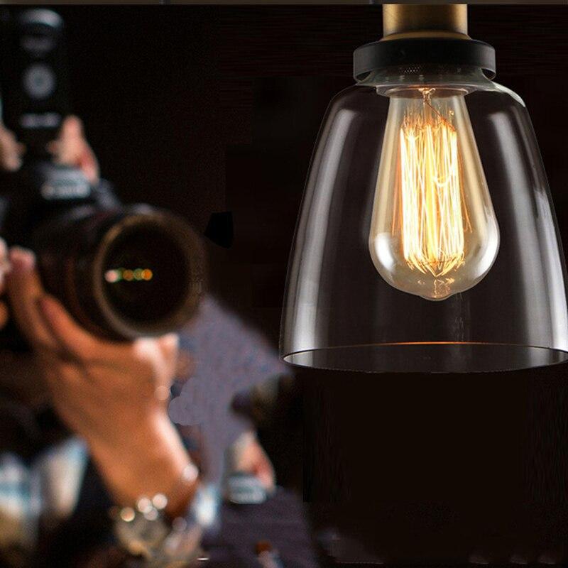 Image 3 - Vintage Pendant Lights American Amber Glass Pendant Lamp E27 Edison Light Bulb Dinning room Kitchen  Home Decor Planetarium Lamp-in Pendant Lights from Lights & Lighting