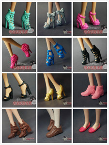 Image 5 - Wholesale doll shoes  nice Children  Girls Gift pullip Doll Accessories lot shoes Princess sexy casual For Barbie Doll