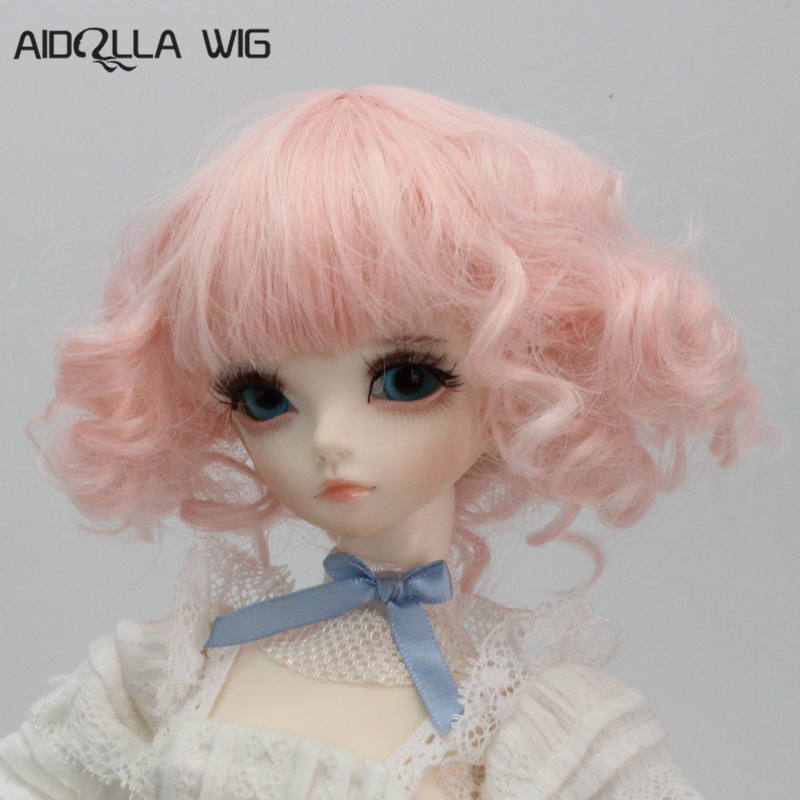 Aidolla Light Pink Color Short Curly <font><b>Doll</b></font> <font><b>Wigs</b></font> 1/3 <font><b>1/4</b></font> 1/6 <font><b>Bjd</b></font> Girl <font><b>Doll</b></font> Accessories Free Shipping image