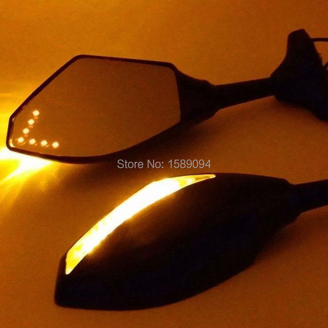 LEDS Arrow Turn Signal Integrated Rearview Sport Mirror For Suzuki GSXR600 GSXR1000 Motorcycle Mirror