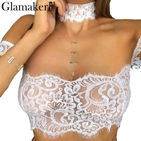 Glamaker Choker White Lace Blouse Women Tops Summer Off Shoulder Crop Top Female Black Lace Camisole