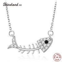 Shineland ريال 925 فضة شيك المختنق القلائد المعلقات للنساء 925 الفضة عظم السمك قلادة collares ماكسي فاسق
