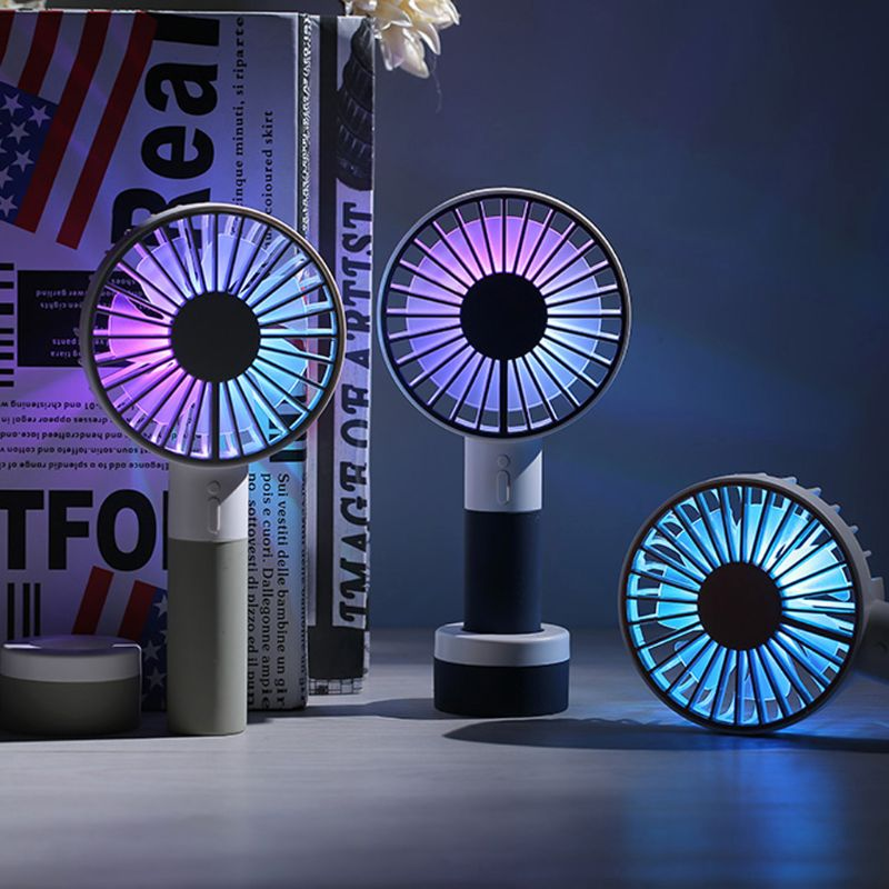 USB Fans USB Fan Small Pig Style Electric Fan Rechargeable Student Handheld Portable Mute Mini Fan for Home Color : Purple Office Outdoor Travel