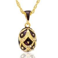 Suitable for European luxury brand necklace purple enamel hand-made resurrection egg pendant necklace, holiday gift