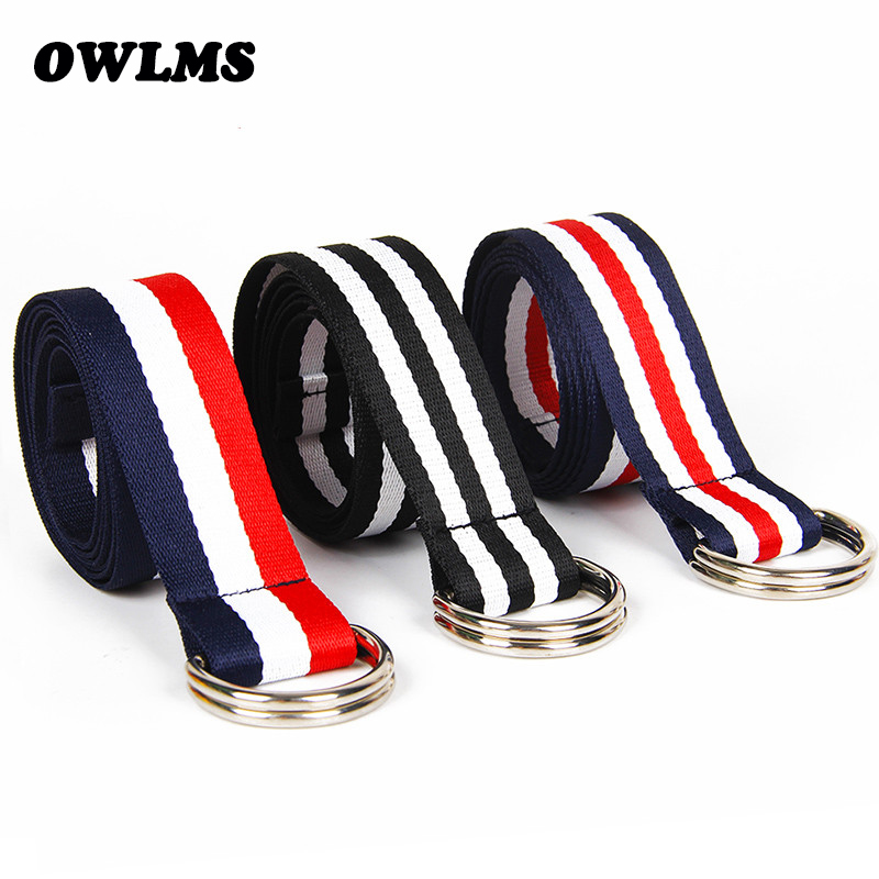 DIY Belts stripes canvas jeans belt silver HOT casual belts men and women simple decorative strap  belt striped style solid girl