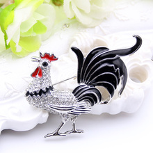 New Style Zodiac Animal Rooster Brooch Pin For Women Rhinestone Enamel Animal Brooches Broches Crystal Cock Jewelry Pins Gift