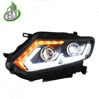 Car Styling Head Lamp 2014 2015 For X trail Rouge headlights led head lamp DRL front Bi Xenon Lens Double Beam HID KIT