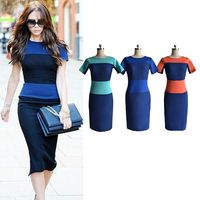Cheap Plus Size Women Dresses New Fashion European Vintage Sexy Short Sleeve Knee Length Pencil Dress
