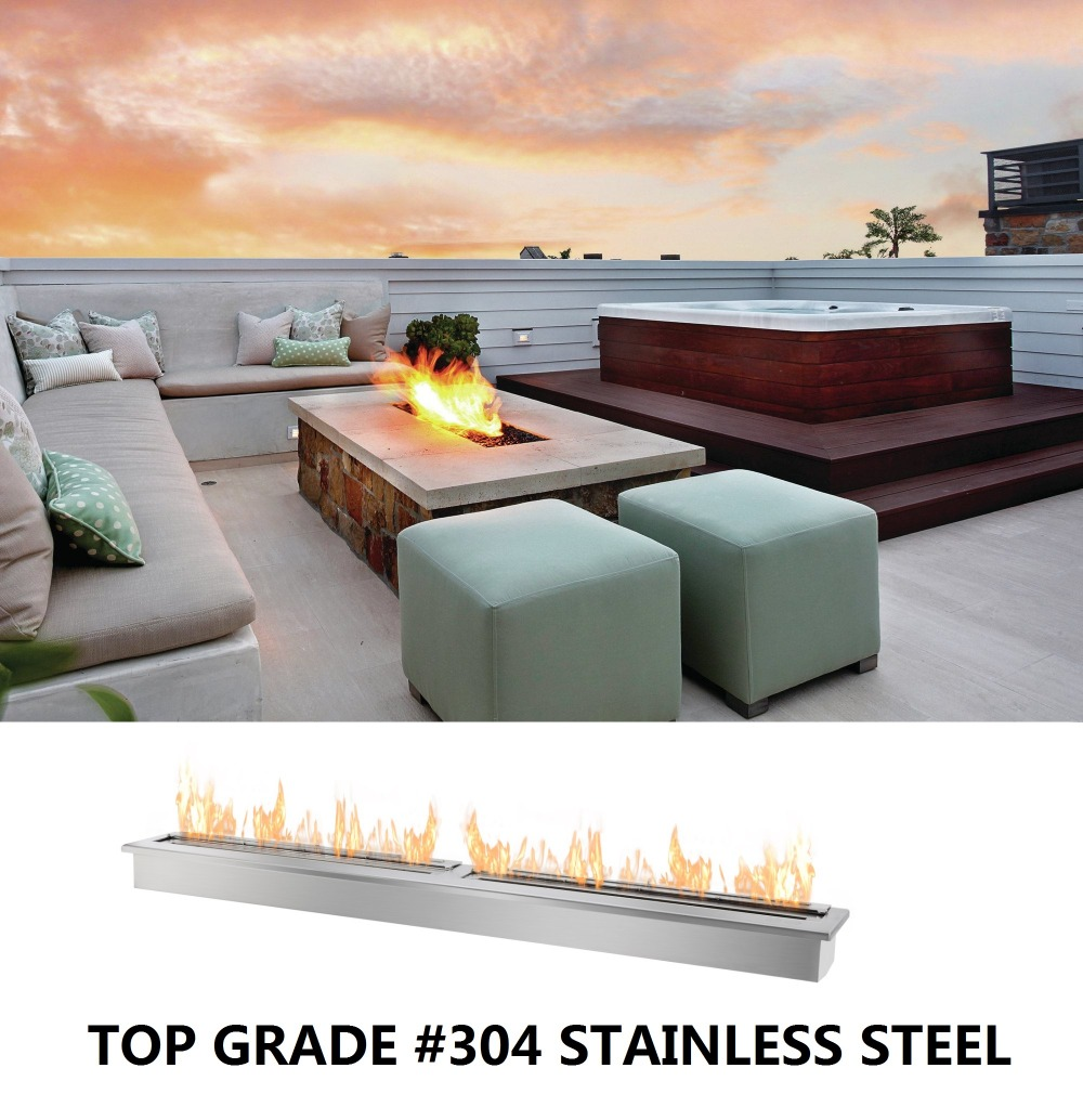 Inno Living Fire 1.5M Stainless Bio Ethanol Fireplace Vented Single Burner