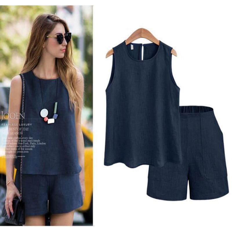 7fb07b245 Mujeres estilo verano Casual algodón Tops camisa femenina Color puro Mujer  Oficina traje trajes de las mujeres calientes conjuntos en Sets mujer de La  ropa ...