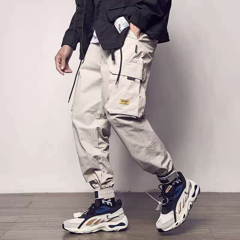 2019 Pockets Cargo Pants Men Color Patchwork Casual Jogger Fashion Tactical Trousers Tide Harajuku Streetwear(China)