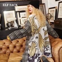 Эльф SACK Новая зимняя женщина шерсть зимнее пальто Повседневное зимняя куртка Винтаж полушерстяные куртки Длинная ветровка шерсть