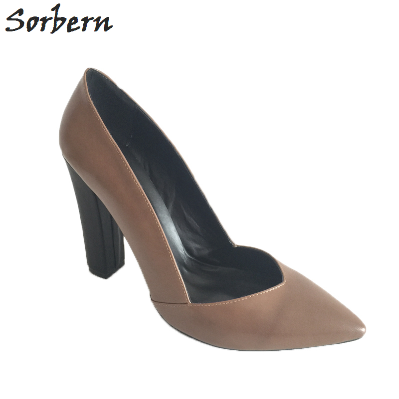 Sorbern Large Size Women Pumps Chunky Heels Skor Ladies Patched - Damskor