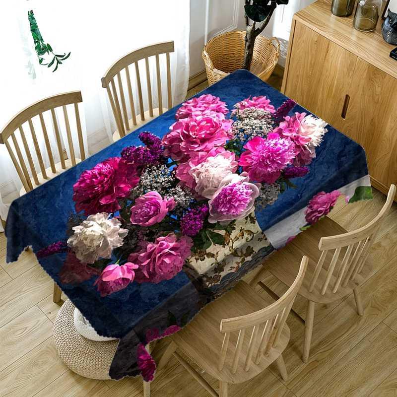 สวย 3D ดอกไม้สีม่วงรูปแบบผ้าปูโต๊ะป้องกันฝุ่นผ้าผ้าฝ้ายสี่เหลี่ยมผืนผ้าและผ้าตารางรอบ