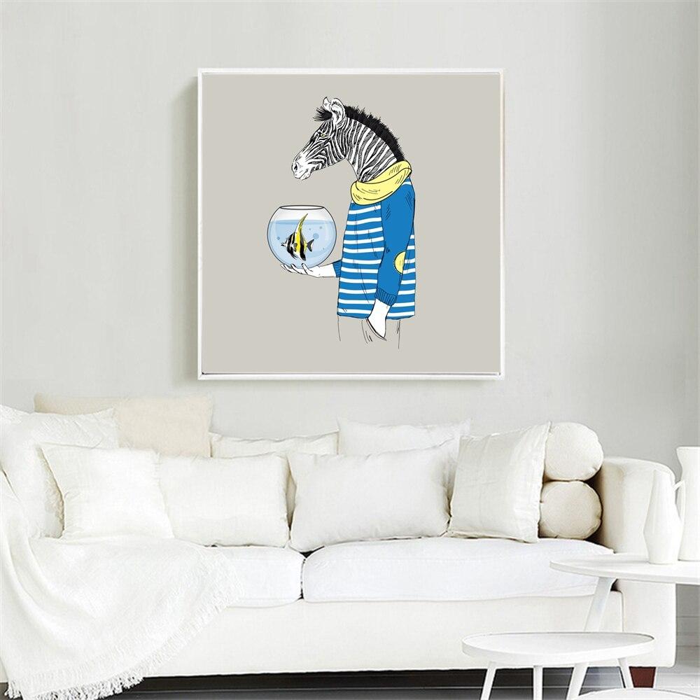 Aม้าลายถือชามปลาการ์ตูนโปสเตอร์ศิลปะพิมพ์รูปภาพบทคัดย่อผ้าใบจิตรกรรมสำหรับสำนักงานตกแต...