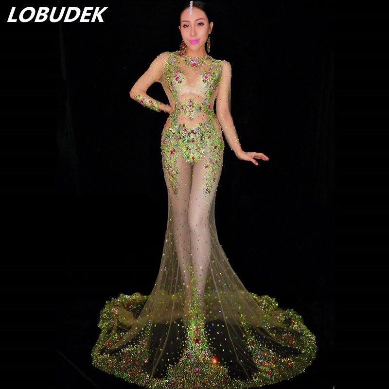 Colorido cristal verde piedras Trailing vestido Rhinestones malla perspectiva vestido largo mujeres Prom fiesta de cumpleaños pasarela DS traje