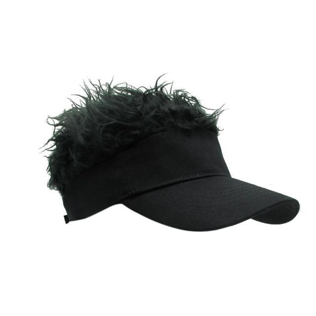 New Novelty Cap Fake Flair Hair Sun Visor Hats Men Women Toupee Wig Funny  Hair Loss 5898f7f747f8