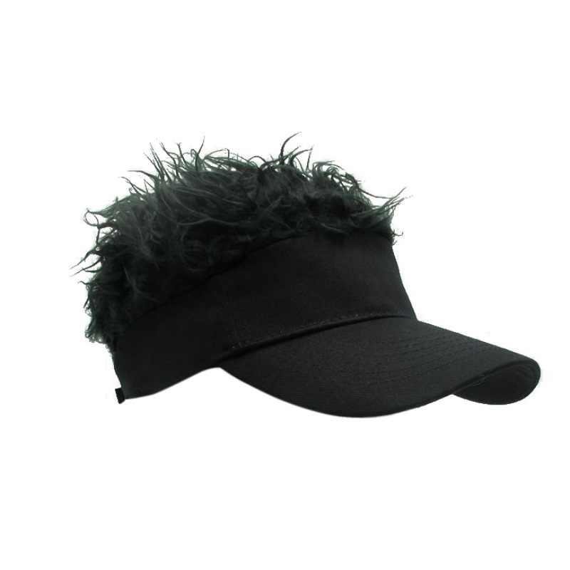 New Novelty Cap Fake Flair Hair Sun Visor Hats Men Women Toupee Wig Funny Hair Loss Cool Gifts Outdoor Sport Tennis Hats