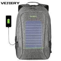 VEJIERY Multifunction Solar Energy Men Backpack Waterproof 15 6 Inch Laptop USB Charging Backpack Leisure Travel