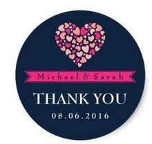 1 5inch Navy Blue Pink Small Hearts Wedding Favor Sticker