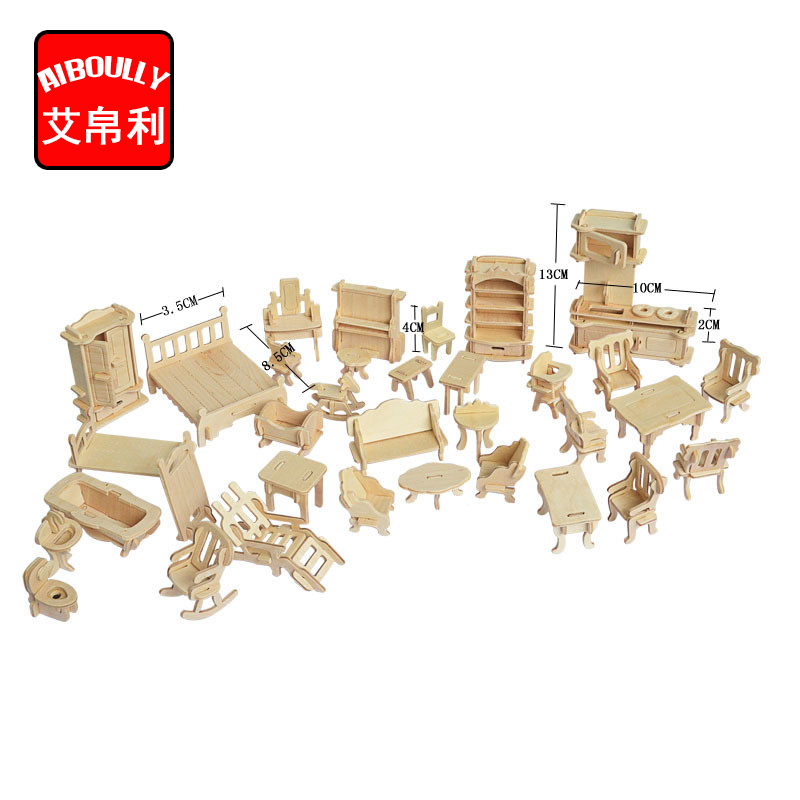 1SET=34PCS , AIBOULLY Wooden Doll House <font><b>Dollhouse</b></font> Furnitures Jigsaw <font><b>Puzzle</b></font> Scale Miniature Models DIY Accessories Set