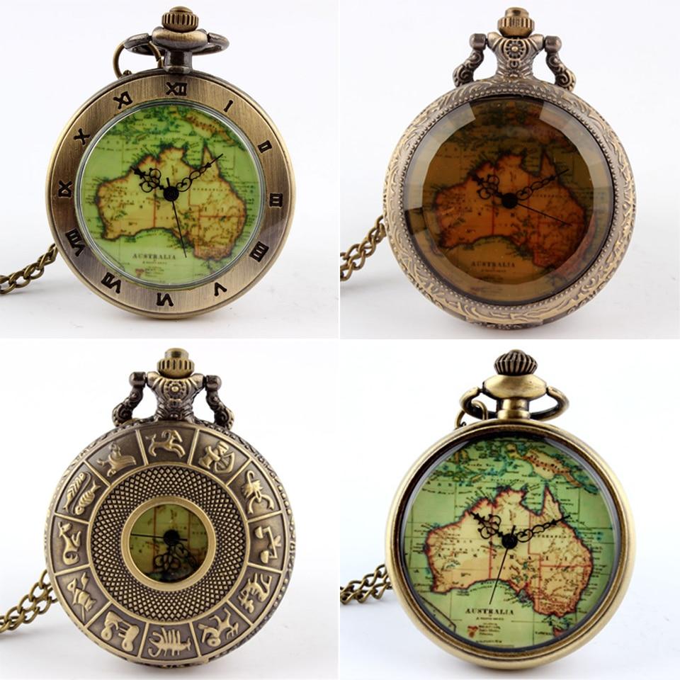 Womens Mens Quartz Pocket Watch 1pcs Vintage Watch Necklace Gift Retro Australia Map Watch Pendant Clock On Chain Dropshipping