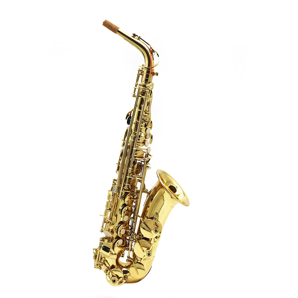High-quality bE Alto Saxphone E Flat Sax Brass Lacquered Gold Woodwind Instrument