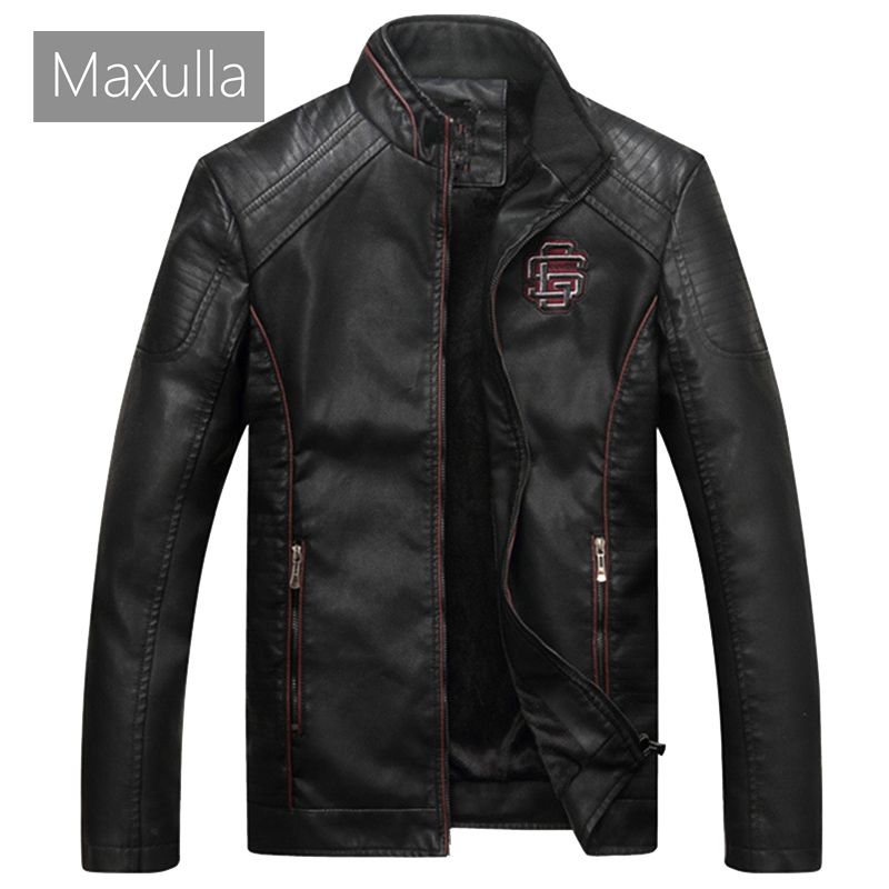 Maxulla PU Leather Jacket Mens Autumn Winter Mens Casual Faux Leather Coats Male Thick Biker Motorcycle Punk Leather Jackets 4XL
