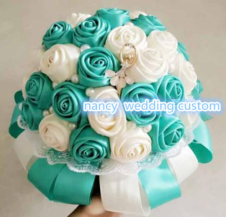 Bouquet Blu Sposa.Us 40 0 Handmade Tiffany Blue Wedding Bouquet High Grade Rose Tiffany Blu Sposa Damigella D Onore Bouquet Romantico Tiffany Blue Wedding 22 Cm In