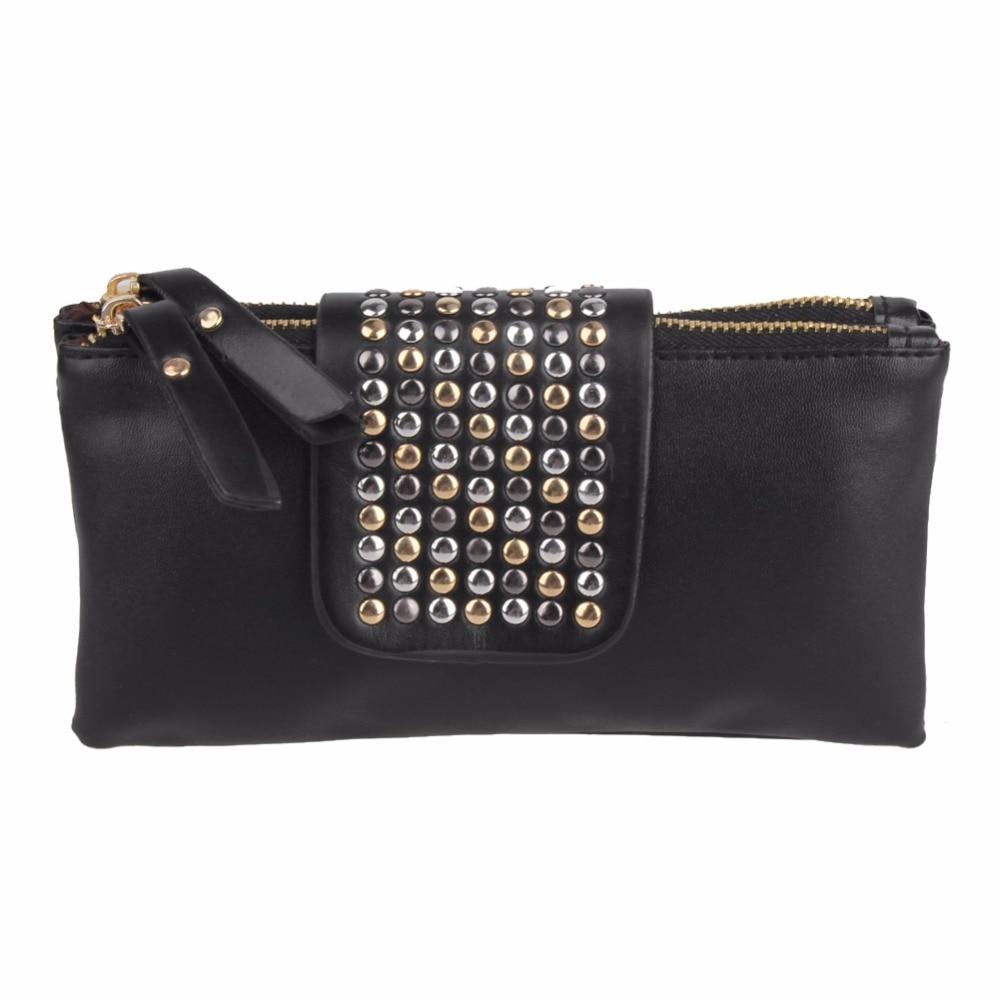 Women Leather Handbag Fashion Rivet Stud Long Day Clutch Bag Wallet Women Card Bag Coin Purse Lady Wristlet Dropshipping