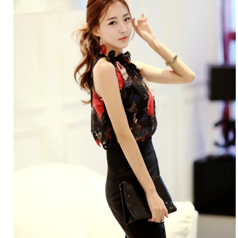 print chiffon sexy sleeves Strapless halter women's clothing blusas  5