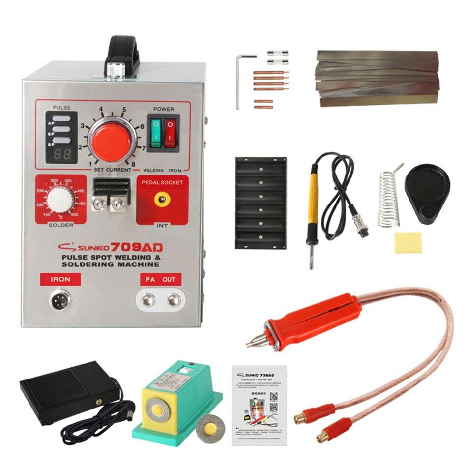 SUNKKO 709AD display digital grande energia da bateria local soldador de solda a ponto de pulso + solda máquina integrada