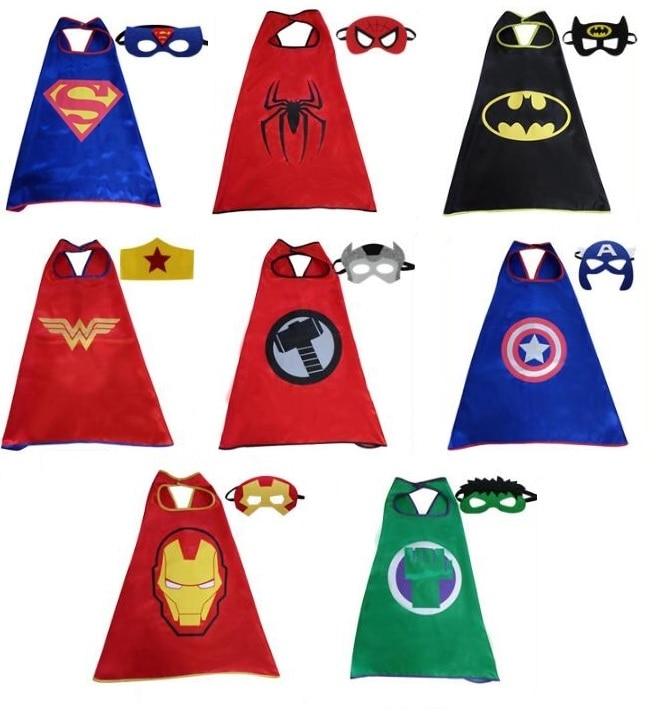 8 Styles Kid Party Prop Satin Super Hero Superman Batman Spiderman Thor Hulk Ironman Masks With Cloak Cape 138