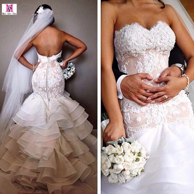 2017 Vintage Mermaid Wedding Dress Sweetheart Ruffles