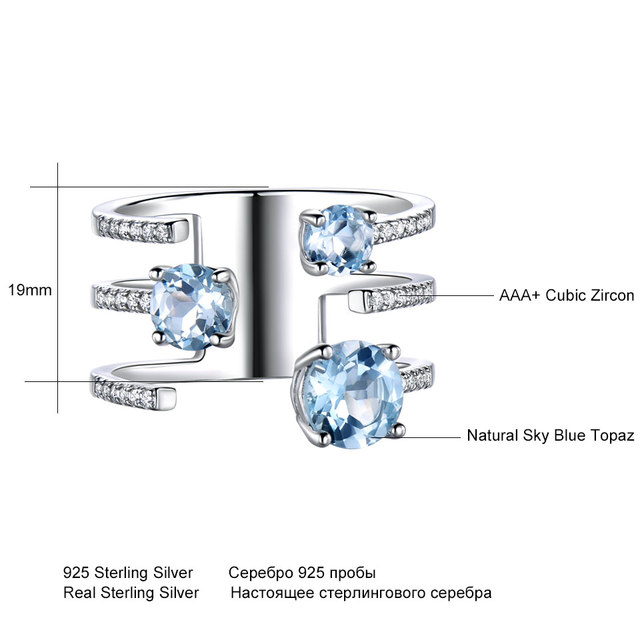 UMCHO 1.37ct Genuine Natural Sky Blue Topaz 925 Sterling Silver Double Ring Gemstone Engagement Rings For Women New Arrival
