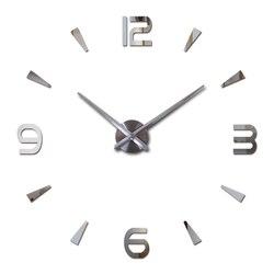 Tự làm gương acrylic Đồng hồ treo tường lớn đồng hồ thạch anh tĩnh hiện đại đồng hồ phòng khách nhà trang trí 3D dán