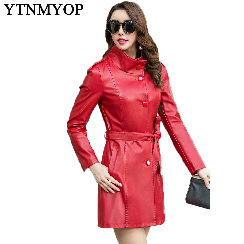 Women's Long   Leather   Trench 2018 Spring And Autumn Female   Leather   Coat Outerwear Slim Fashion Sashes   Leather   Jackets   Suede   Plus
