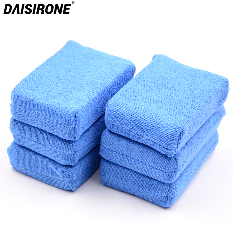 6PCS Microfiber Applicators Sponges Cloths Microfibre Wax Polishing Car Detailing Wash Apply Remover Buff Pads Blue