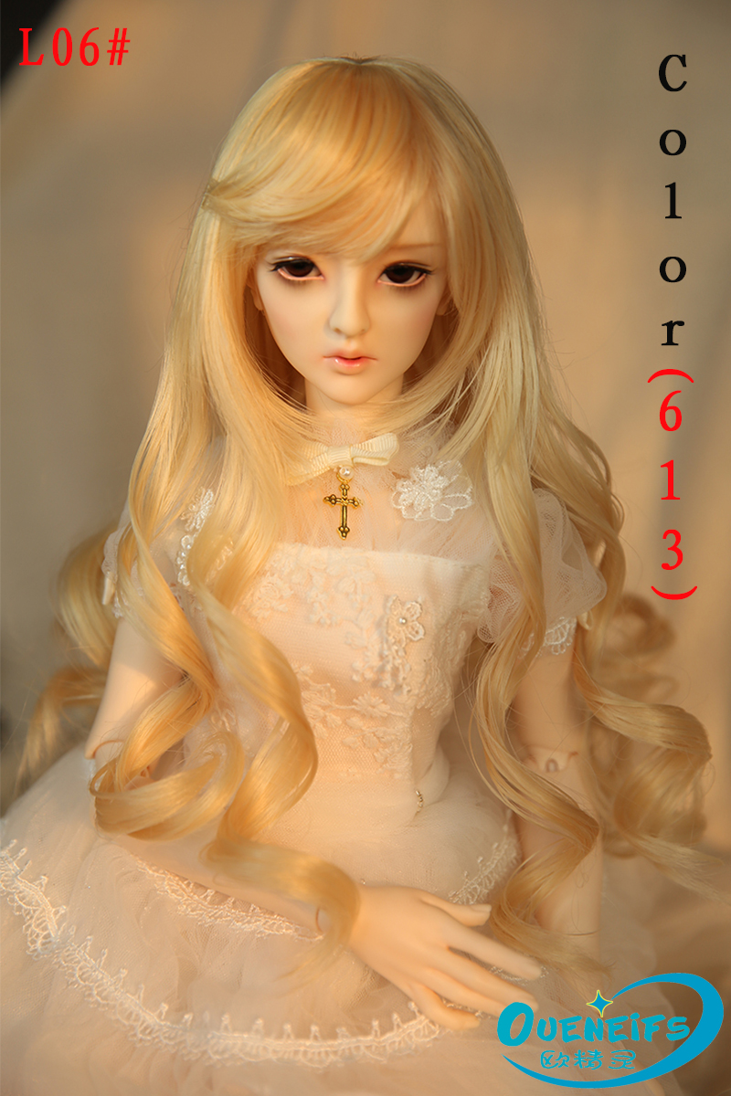 OUENEIFS free shipping 9-10 inch 1/3 high-temperature wig girl long curly hair bjd sd doll Wig in beauty and health with bangs