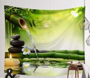 Image 4 - Tapiz de escena de CAMMITEVER, tapiz de tela impresa, manta de pared fácil de limpiar, decoración del hogar, Lago de Fog Woods