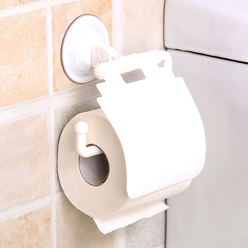 Hot Sale 1Pcs Wall Mounted Suction Cup Toilet Tissue Holder Roll Papers Stand Storage Dispensers With Cover Bathroom Accessories