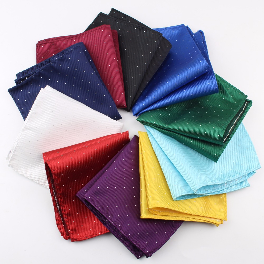 Vintage Fashion Party Men's Handkerchief Star Silver Point Groomsmen Men Pocket Square Hanky 24*24cm
