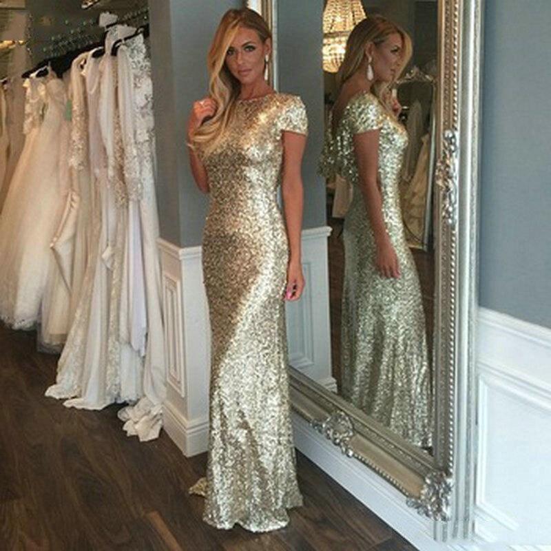 Sparkly Gold Sequin   Dress   Wedding Party Long   Bridesmaid     Dresses   Robe Demoiselle D'honneur
