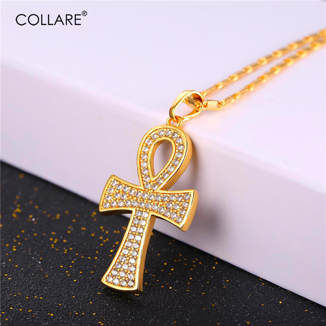Collare ankh egyptian pendants men crystal zirconia cross key of the collare ankh egyptian pendants men crystal zirconia cross key of the nile jewelry goldsilver aloadofball Image collections