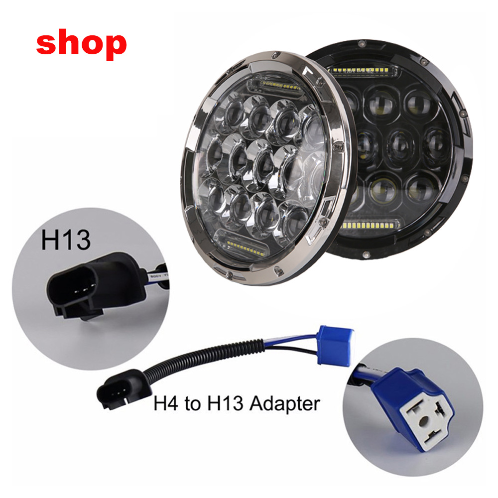 7inch 75w LED headlight for Jeep wrangler JK 4x4 12v-24v running light with H4/H13 Hi-LO beam for LADA NIVA