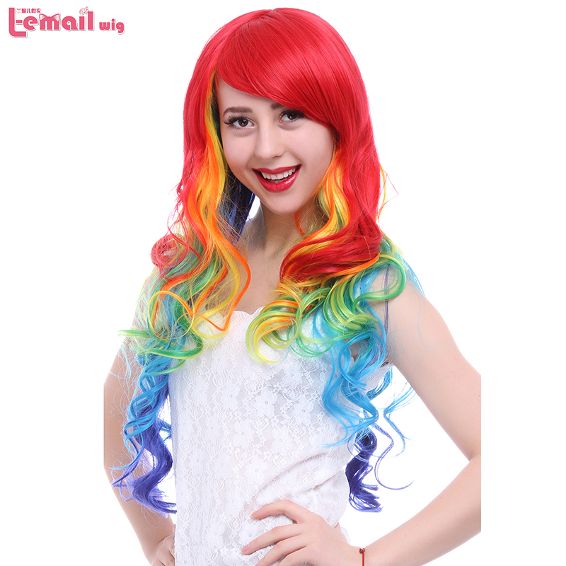 L-email wig 75cm/29.5inches Long Women Wigs Curly Mixed Rainbow Colors High Temperature Fiber Synthetic Hair Perucas Cosplay Wig